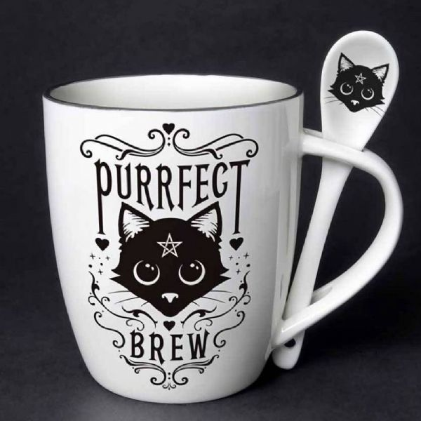 ALCHEMY GOTHIC Purrfect Brew Cat Mug & Spoon Set